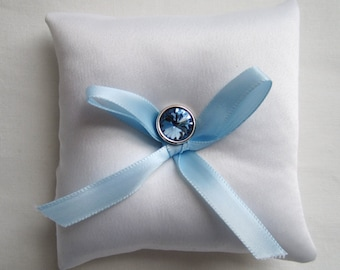 "Something Blue Ring Bearer Pillow, blue wedding pillow, small simple bridal pillow, blue button blue ribbon -- approx. 3"" square"