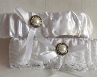 Silver & White Lace Wedding Garter Set, Antique look, Silver and pearly button, includes keepsake and toss garters