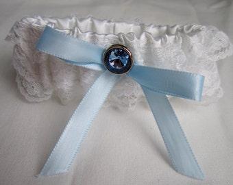 Something Blue Garter Set, white wedding garter, white lace bridal garter, blue button & ribbon, includes keepsake and toss garters