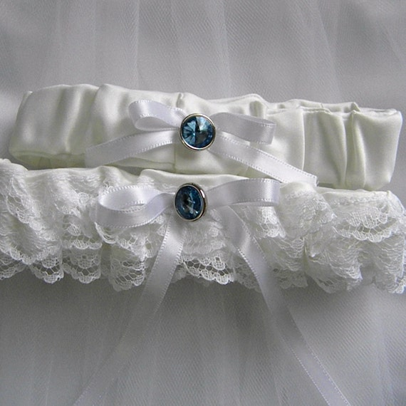something blue garter White stretch Lace Garter with white bow SET