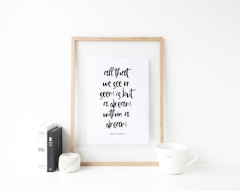 Typography Art Print, Typography Print, Edgar Allan Poe, Poe Quote, Black and White, Room Decor, Dreams, Dream Within a Dream, A Dream