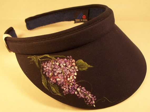 Women s visor Black with hand painted Lilacs  9fb9eb3e3b9e