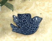 Navy Blue Bird Trinket Dish, Ring Dish, Jewelry Dish, Birds Ring Holder, Gift Box