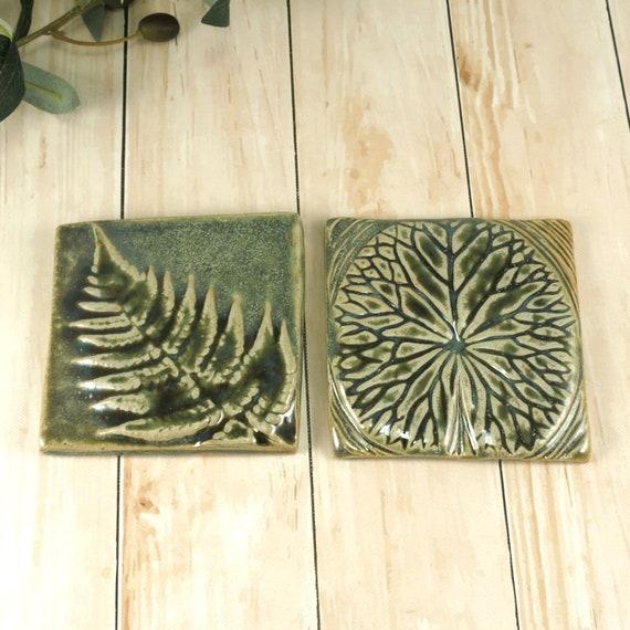 Ceramic Tile Wall Art, Backsplash Accent Kitchen Bathroom Tile Handmade  Leaf Tiles Green Leaves Set of 2