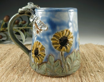 Hand Built Ceramic Daisy Mug with Bicycle, Handmade Porcelain Coffee or Tea Cup made with Daisies, Butterfly, Dragonfly and Frog