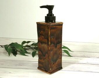 Ceramic Soap Dispenser, Dish Soap Dispenser, Shades of Brown Liquid Soap, Hand Soap Pump, Handmade Bathroom Decor, Kitchen Decor - 799