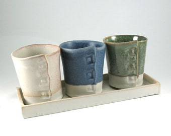 Handmade Ceramic Flower Pots - Pottery Windowsill Planters -  Planter - Succulent Planter - Set of 3 Pots on a Tray - 814