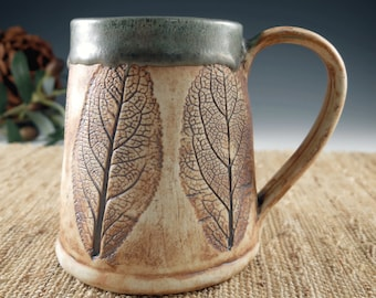 Large Handbuilt Pottery Mug, Handmade with Leaves in Brown and Green, Extra Large Ceramic Coffee Cup, 18 oz, Rustic Porcelain Tea Mug