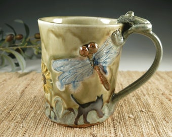 Handmade Pottery Mug with Daisies, Dragonfly, Butterflies, Cat and a Frog made out of Porcelain, 18 oz
