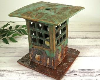 Zen Garden Outdoor Lantern, Ceramic Candle Luminary, Handmade Pottery Mission Style Lighting, Rustic Woodland Decor, 788