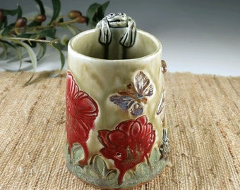 Pottery Mug with Red Poppies, Handmade Ceramic Coffee Cup with Butterflies, Dragonfly, Rabbit and Frog, Unique Nature Gift for Gardener