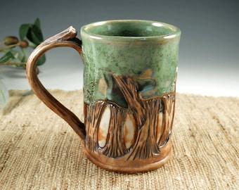 Unique Hand Carved Woodland Trees Pottery Mug, Handmade Large Ceramic Coffee Cup, Original Mission Style, Green and Brown Porcelain, 14 oz