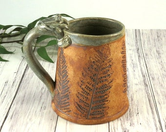 Large Tankard Pottery Mug, Handmade with Ferns in Brown and Green, Extra Large Ceramic Coffee Cup, 20 oz, Rustic Stoneware Tea Mug, 801