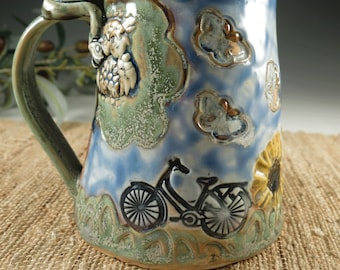Handmade Pottery Bicycle Mug with Daisies, Butterflies, Owl, Cat and Frog, Hand Built Porcelain Coffee or Tea Cup, Fine Art Ceramics