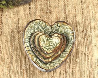 Heart Ring Dish Set, Handmade Emerald Green Pottery Decorative Plates, Heart Trinket Dish
