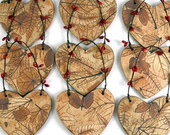Nature Themed Pottery Heart, Handmade Woodland Ceramic Ornament
