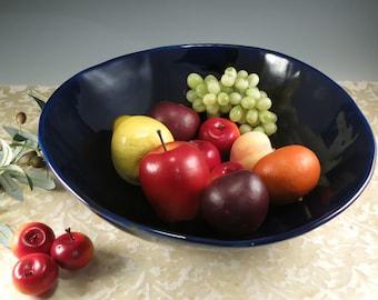 Blue Serving Bowl Extra Large Ceramic Handmade Bowl Pottery Fruit Bowl Organic Shaped Bowl Salad Bowl