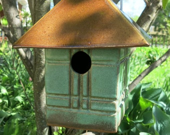 Mission Style Birdhouse, Handmade Pottery Bird House, Outdoor Garden Decor, Hanging Nesting Box, Functional Yard Art
