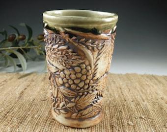 Pottery Berry Wine Tumbler, Handmade Celedon Green Porcelain Juice Cup, Natural Organic Cup, Hand Built Botanical Design