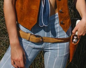 Brun et Tan de ceinture Western en cuir Suede