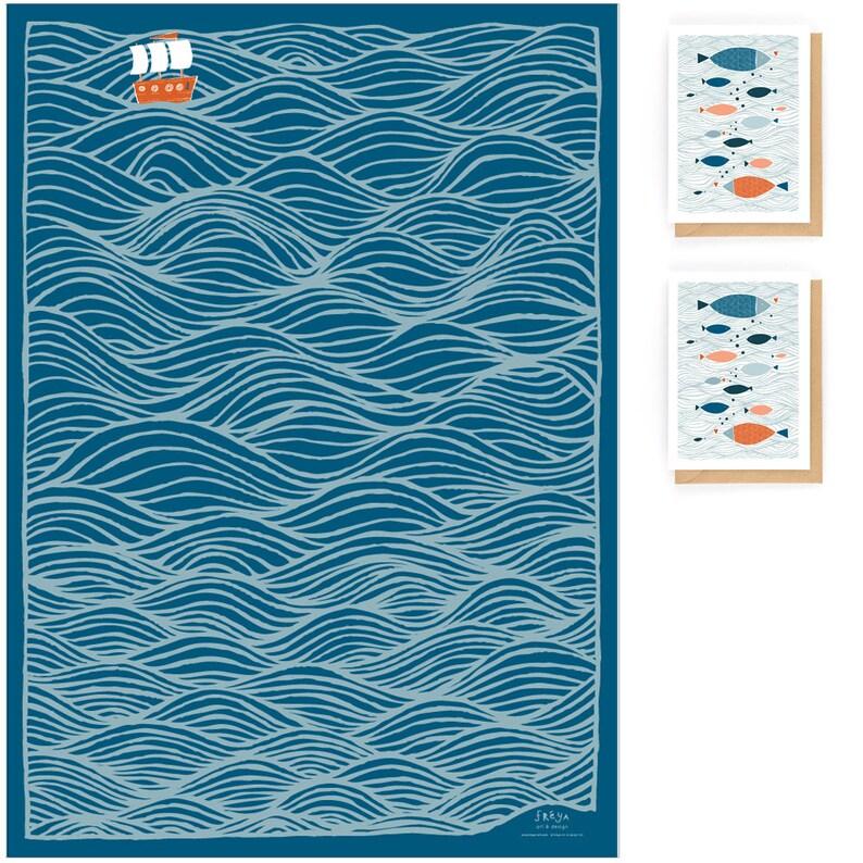 GWS9 BLUE OCEAN Gift Wrap Set