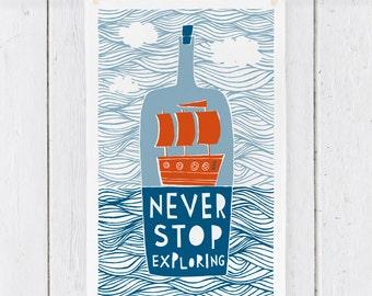 Never Stop Exploring - Tea Towel (TT12)