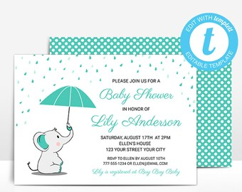 Yellow Elephant Baby Shower Invitation Template Umbrella Etsy