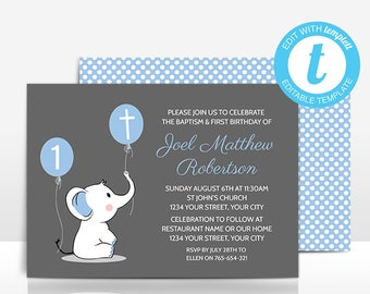 baptism and first birthday invitation editable template 1st etsy