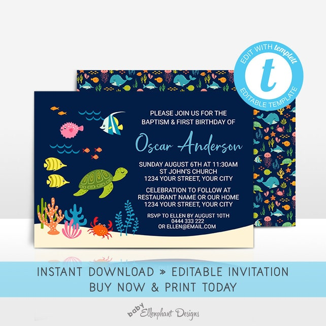 Baptism And First Birthday Invitation Editable Template 1st Joint Christening Under The Sea Fish Ocean Personalize Yourself Templett