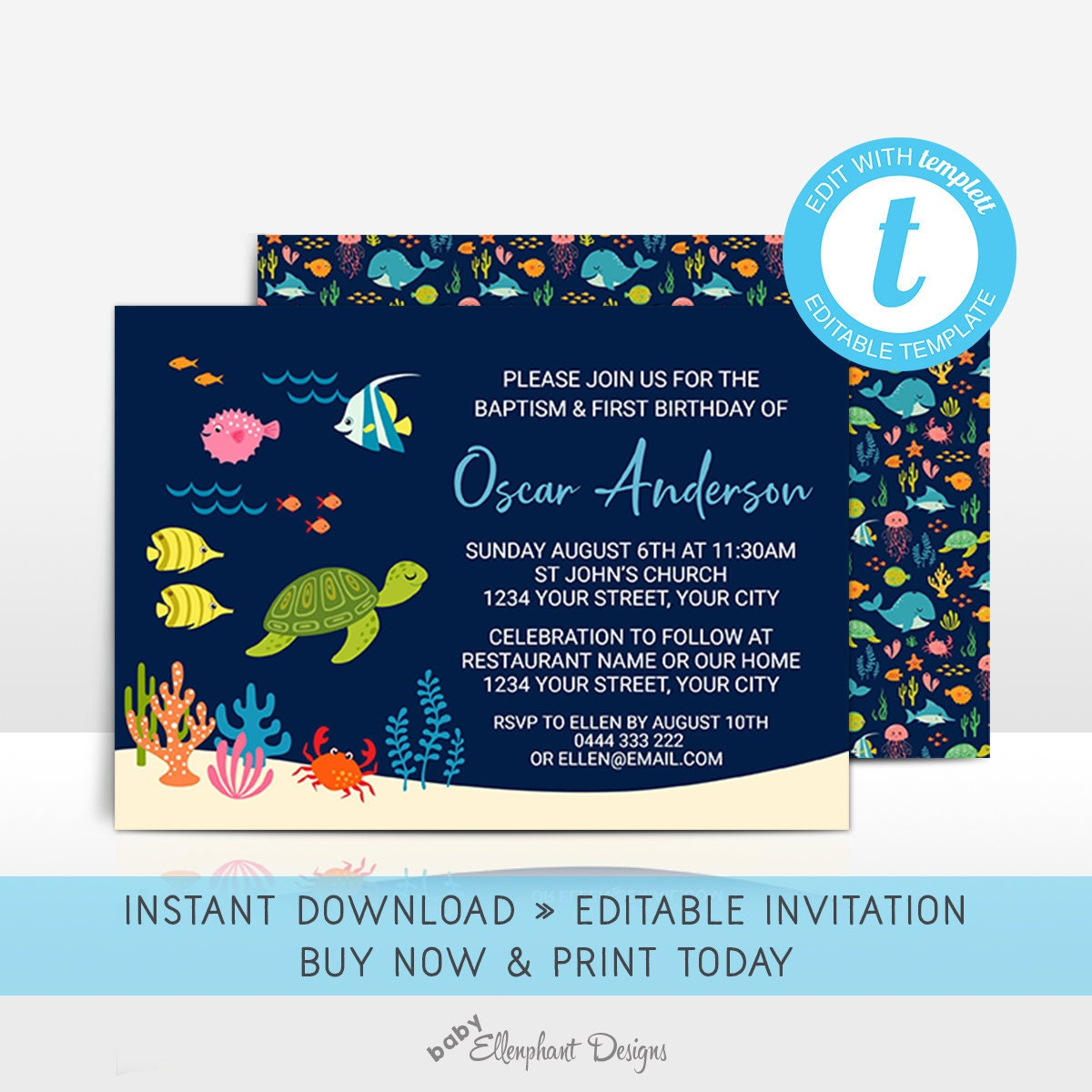 Baptism and First Birthday Invitation Editable Template 1st
