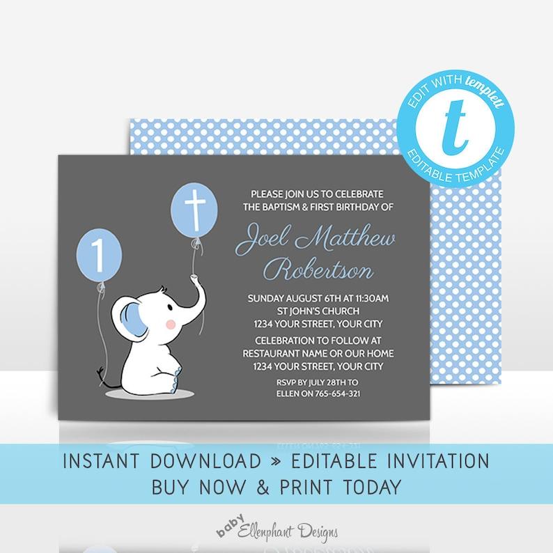 Baptism And First Birthday Invitation Template 1st Joint Christening Elephant Boy Editable Templett Digital File DIY Printable