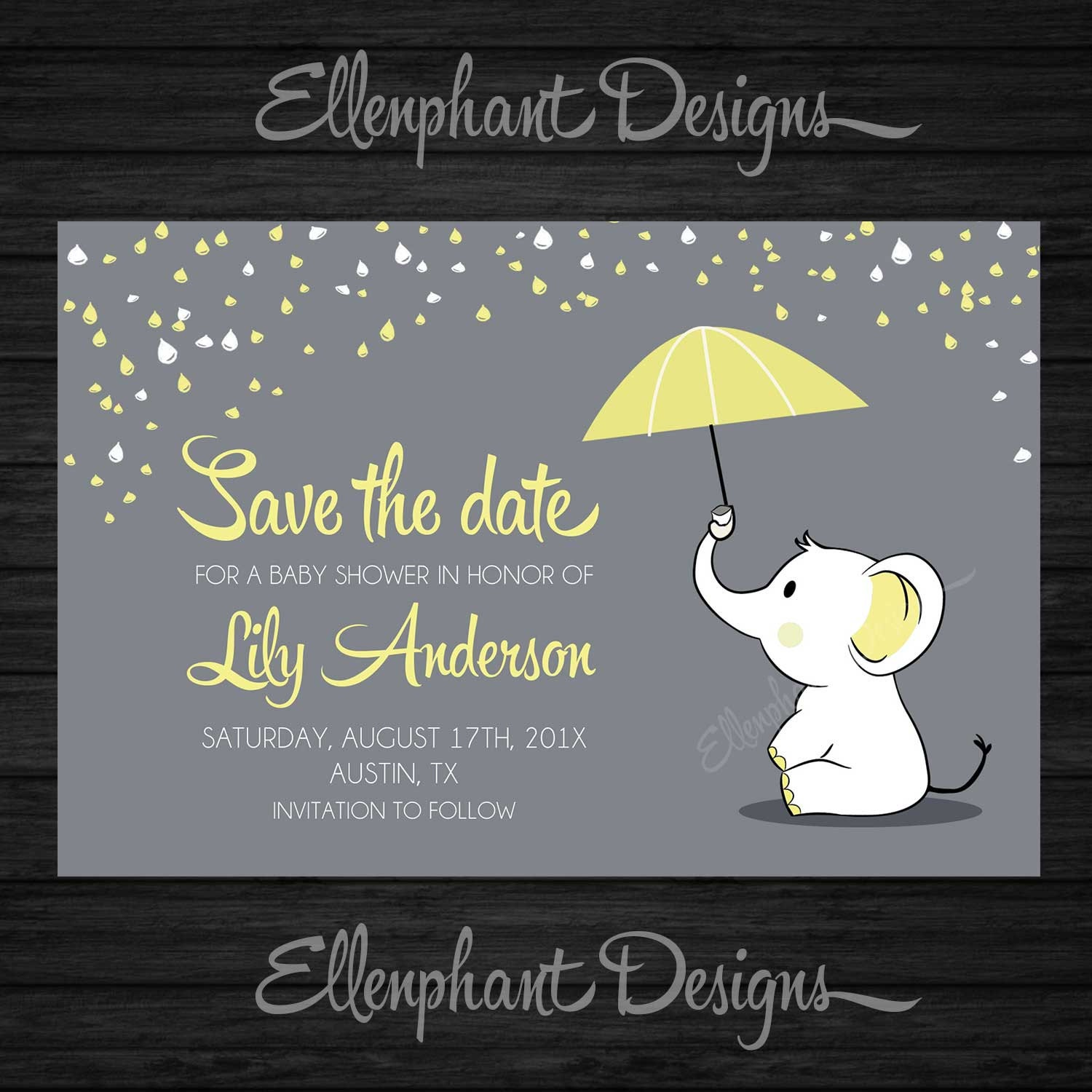 Save the date Yellow elephant Baby Shower umbrella rain