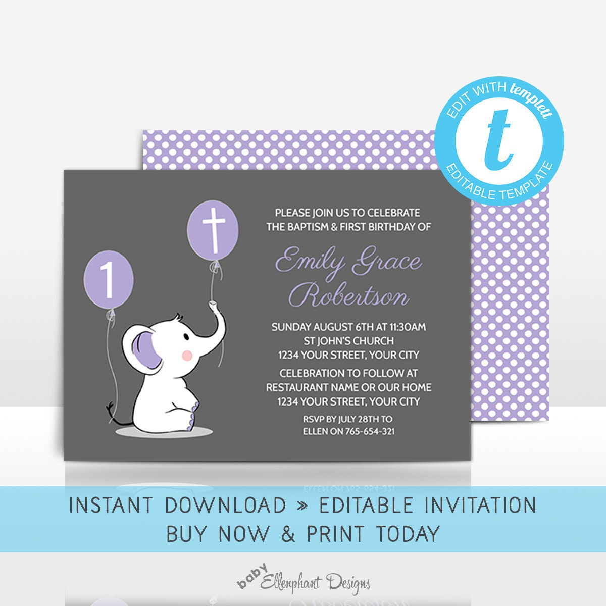 Baptism And First Birthday Invitation Editable Template