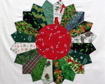 Giant Christmas Dresden Plate Appliqued Quilt Block