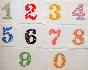 Handmade Numbers Appliqued Quilt Blocks