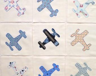 Blue Airplanes Appliqued Quilt Blocks