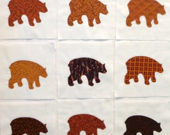 Brown Bears Appliqued Quilt Blocks