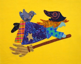 A Halloween Witch Appliqued Quilt Block