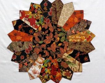 Giant Autumn Dresden Plate Appliqued Quilt Block