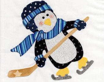 Hockey Playing Penguin Appliqued Quilt Block