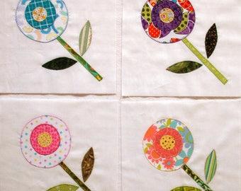 Pop Art Poppies Appliqued Quilt Blocks