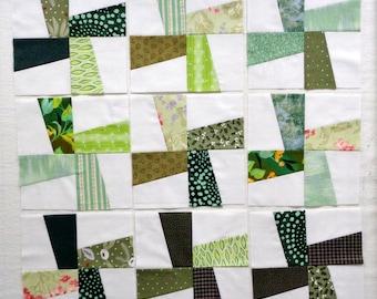 Windmill Pieced Quilt Blocks in Scrappy Green