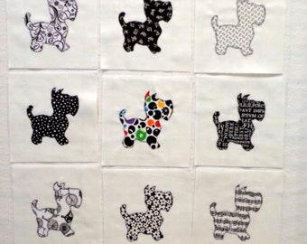 Black and White Scottie Dogs Appliqued Quilt Blocks