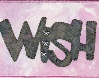 Wish, A Pink Quilted Fabric Postcard