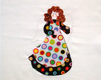 Polka Dot Angel Appliqued Quilt Block
