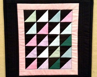 Handmade Amish Triangles Doll Quilt