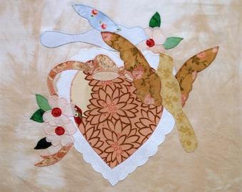 Handmade Romantic Love Birds and Heart Applique Quilt Block