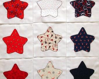 Patriotic Stars Appliqued Quilt Blocks in Red, White & Blue