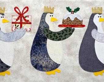 Penguins with Presents Appliqued Quilt Blocks