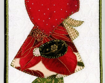 Christmas Sunbonnet Sue Quilted Fabric Postcard
